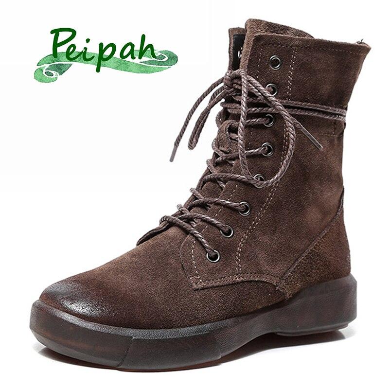 PEIPAH designer handmade new 2019 winter boots female Genuine Leather plus velvet pure leather short Retro boots  women shoes