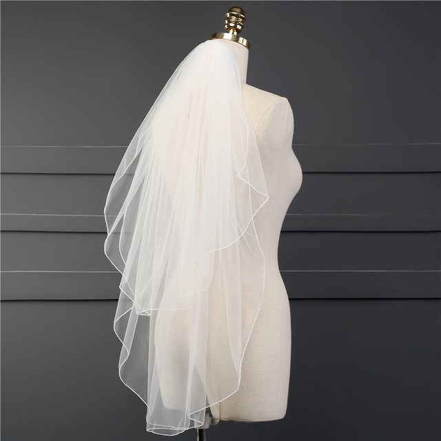 Two Layer Veil With Comb Wedding Vail Solid Color Soft Tulle Veil Short White Ivory Woman Bridal Veils 2019 veu de noiva curto 3