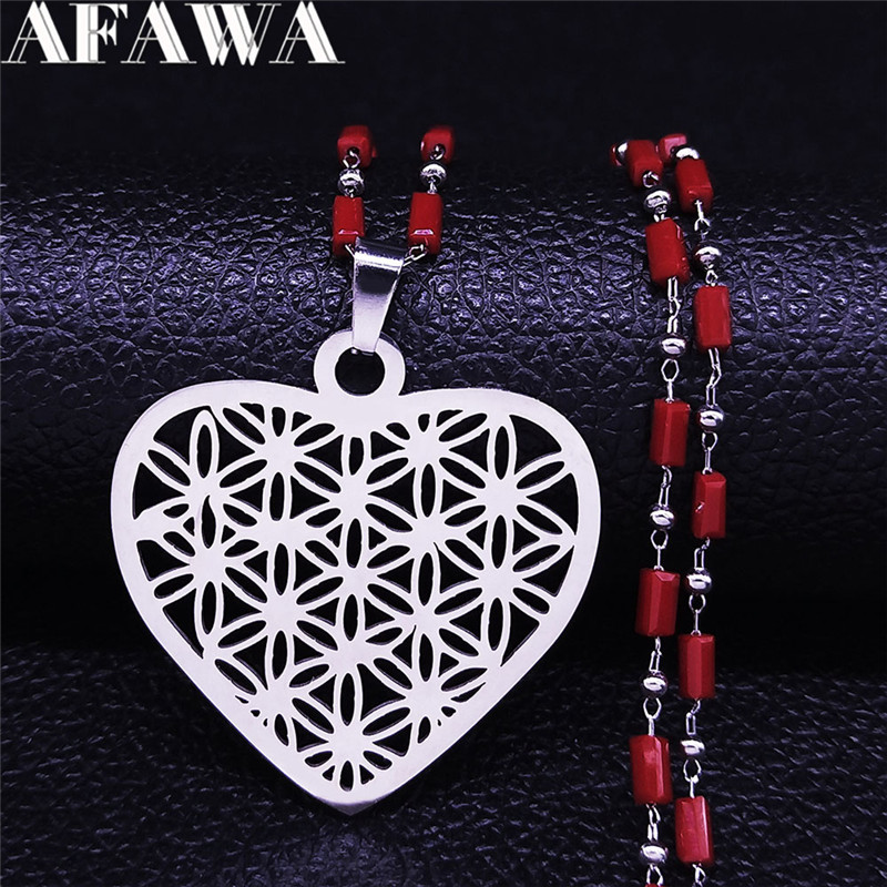 Yoga Heart Flower of Life Stainless Steel Charm Necklaces Silver Color Necklace for Women Jewelry Valentine's Day Gift NXS01