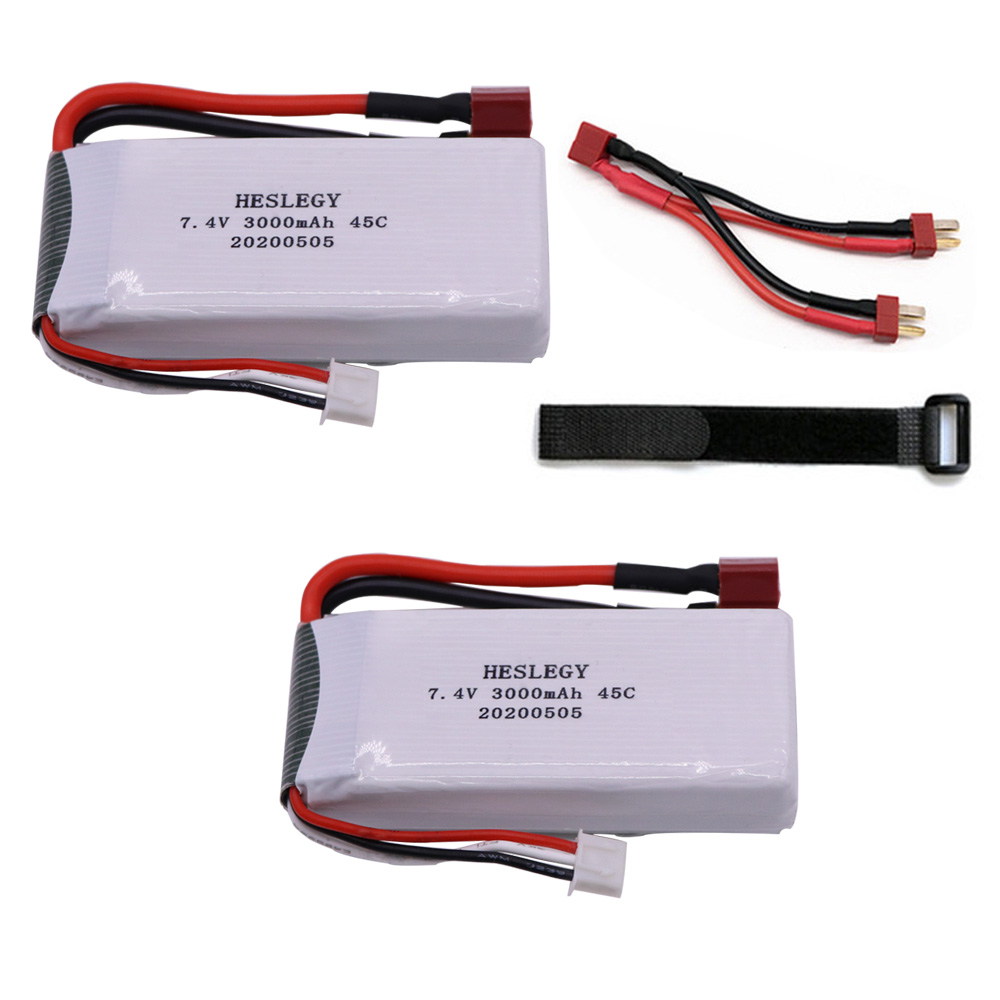 Upgrade 7.4V 6000mah <font><b>3000mah</b></font>*2PCS <font><b>Lipo</b></font> Battery for Wltoys 12428 12423 RC Car Spare Parts 7.4V <font><b>2S</b></font> <font><b>3000mah</b></font> battery T Plug image