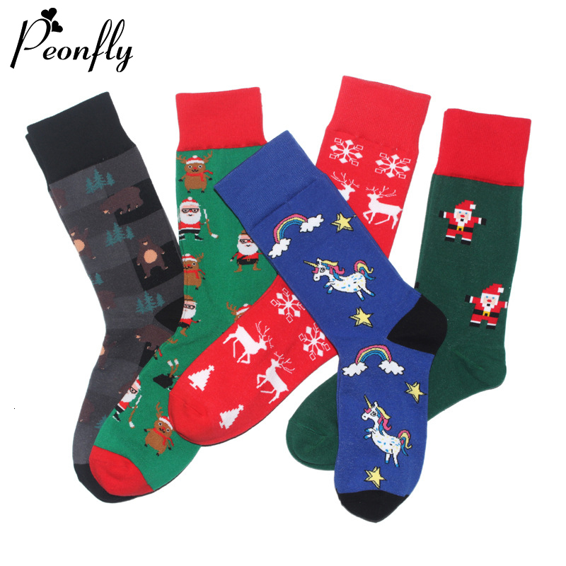PEONFLY New 2019 Autumn Winter Christmas Socks Men New Year Santa Claus Christmas Tree Snow Elk Gift Happy Socks