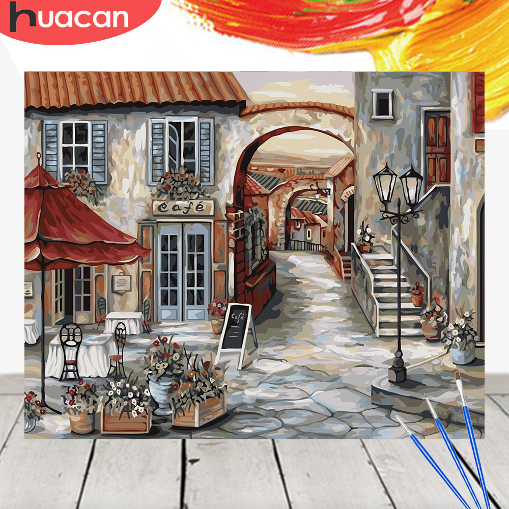 HUACAN Picture By Numbers City Scenery Acrylic Drawing Canvas Wall Art Oil Painting DIY Home Decor Gift