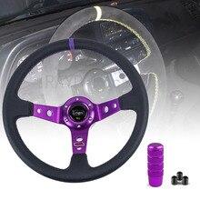 אוניברסלי 14 אינץ 350mm PVC מרוצי מכוניות היגוי גלגלים עמוק תירס נסחף הגה ספורט עם Shift Knob