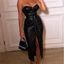 Женское платье из искусственной кожи с открытой спиной, черное облегающее платье для вечеринки, сексуальная одежда для ночного клуба, облегающие платья с низким вырезом и поясом vestidos
