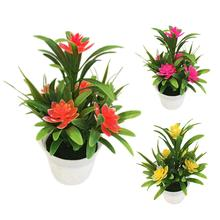 Mini Artificial Flower Potted Plant Lotus Bonsai with Flower Pot Wedding Party Garden Resturant Table Decor Home Decoration