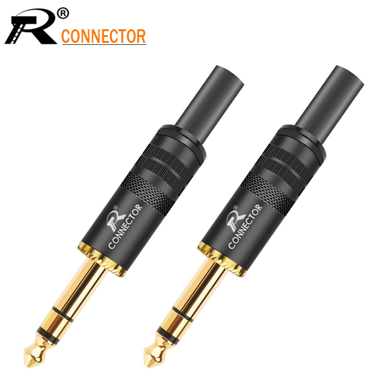 10Pcs 6.35mm 2 Pin Mono Right Angle Audio Stereo Jack Plug Connector Contacts