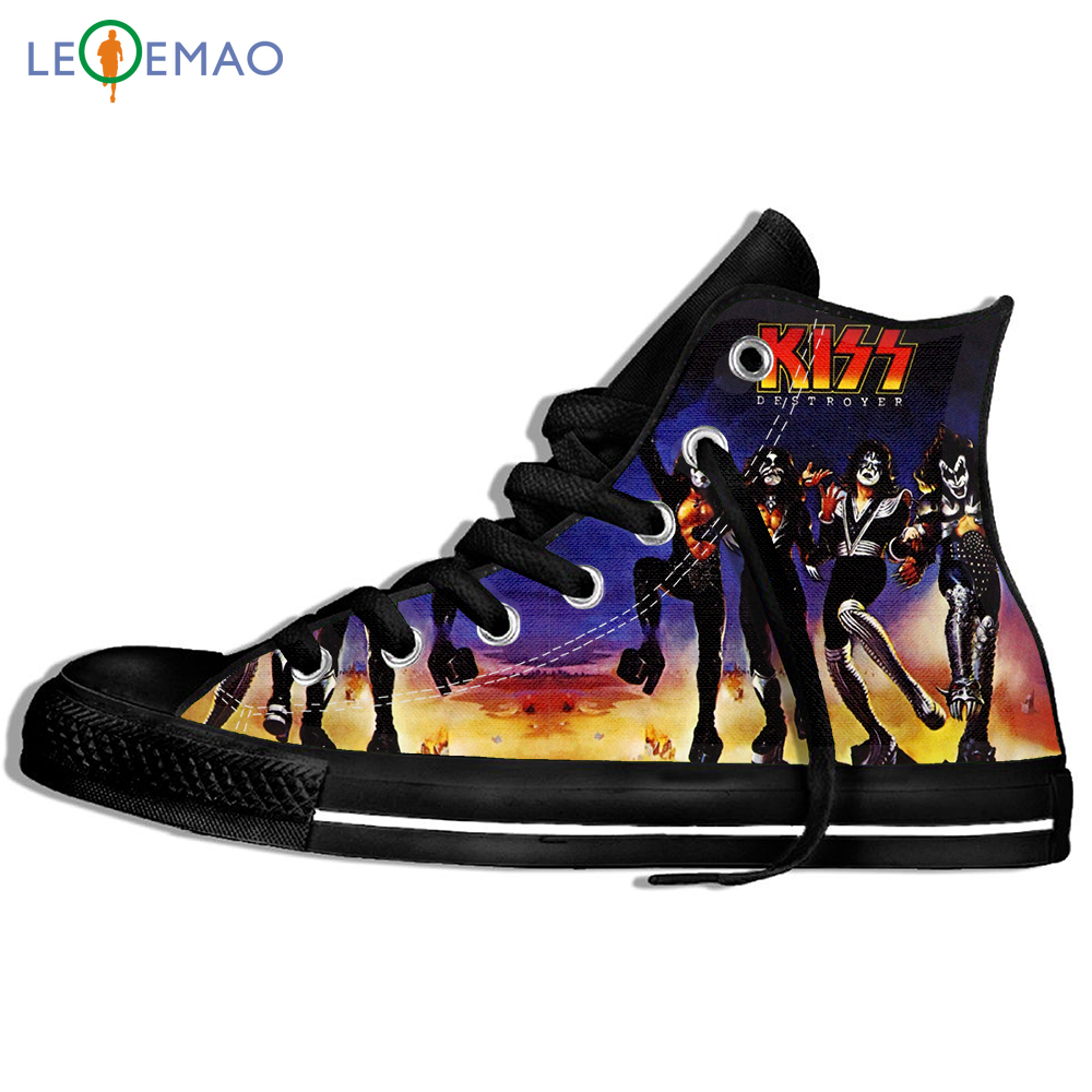 Creative Design Custom Sneakers Hot Printing Kiss Band Unisex Lightweight Trends Comfortable Ultra High Top Light Sports Shoes