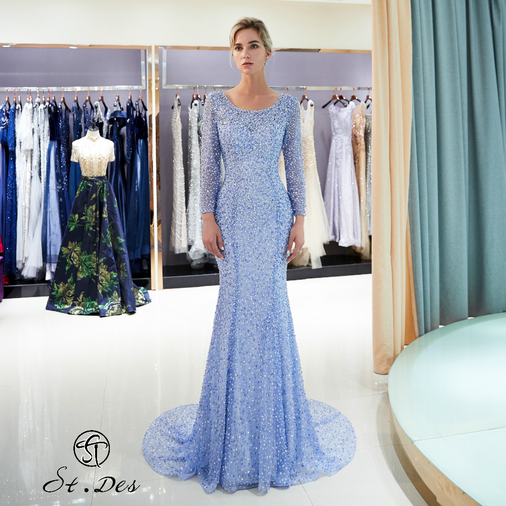 NEW Arrival 2020 St.Des Mermaid O-Neck Long Sleeve Purple Champagne Sequins Floor Length Evening Dress Party Dress Party Gown