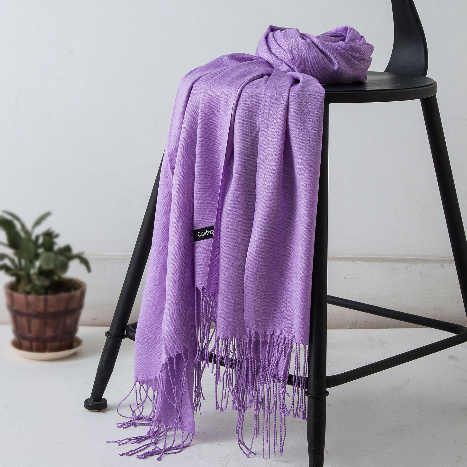 2019 Luxury Solid Women Pashmina Scarf Cashmere Shawls Wraps Tassel Bandana Scarves Lady Warm Winter Hijab Female Bufanda