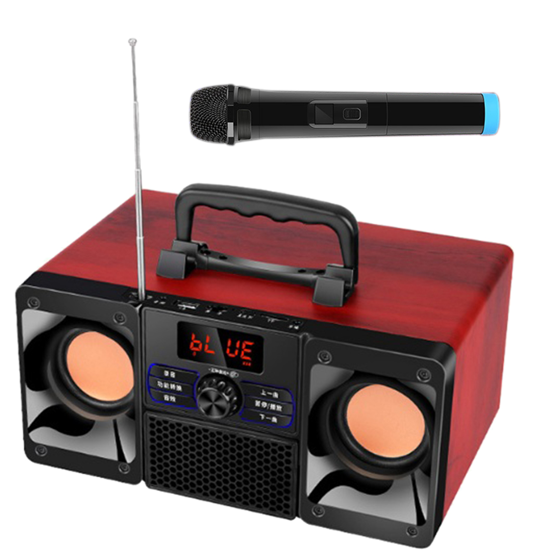 Portable Wooden Box Karaoke Machine Bluetooth Double Bass Speaker Multi-Function Amplifier With Phone Holder And Microphone -Red