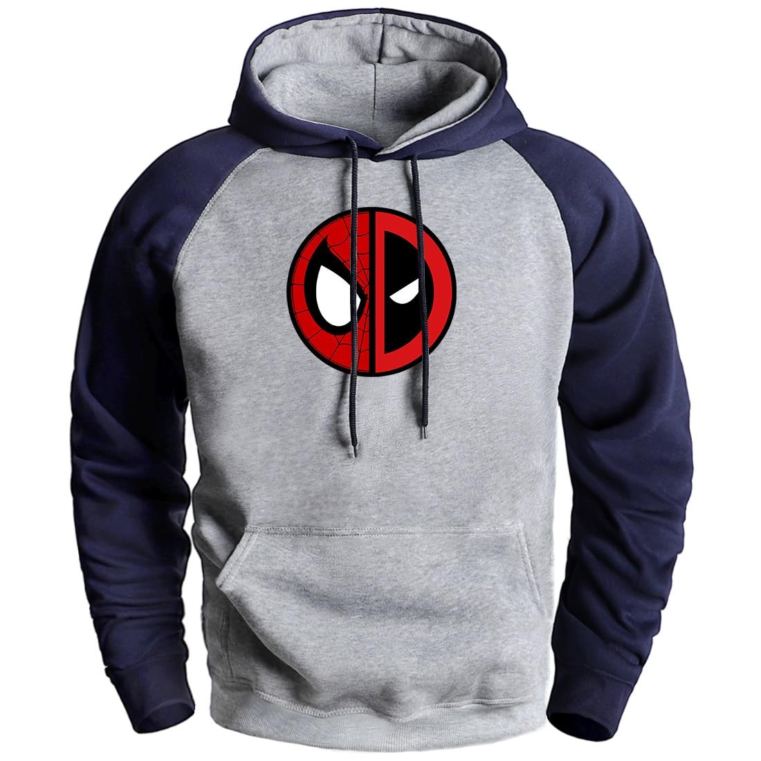Marvel Deadpool Hoodies Mens Winter Raglan Hoodie Pullover 2020 New Arrival Man Brand Fleece Warm Loose Tracksuit Hip Hop Hoodie