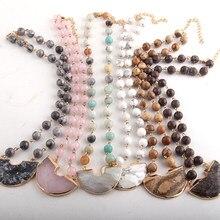 RH-joyería de moda para mujer, collares con colgantes de piedra Natural, piedra semipreciosa, cadena de Rosario, Gargantilla, 8mm
