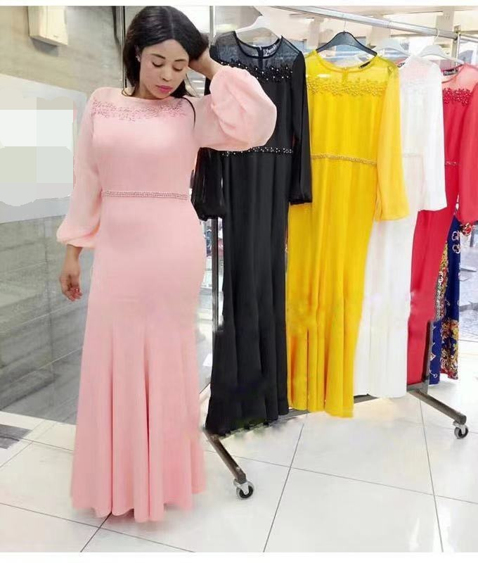2019 New Elegent Fashion Autumn African Women Plus Size Long Dress L-3XL