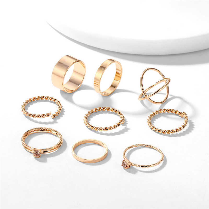 Bohemian Gold Sliver แหวนสำหรับสตรี Vintage Twist Cross แหวนคริสตัล 2019 Knuckle หญิงแฟชั่นเครื่องประดับงานแต่งงานของขวัญ