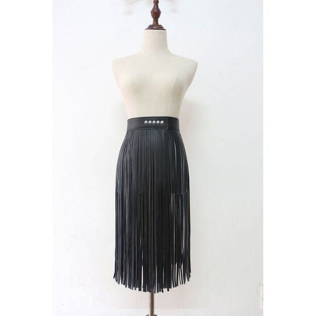Women High Waist Faux Leather Fringe Tassels Skirt Body Harness with Snap Buttons Halloween Party Punk Rock Costume Clubwear 5