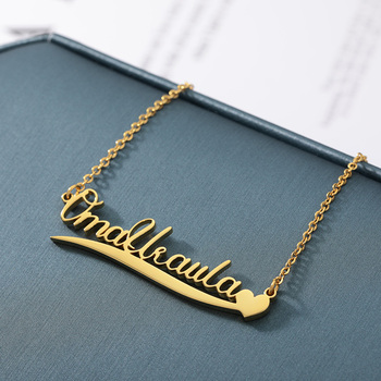 V Attract Gold Filled Custom Name Necklace Women Men Personalized Jewelry Heart Choker Stainless Steel Collier Best Friend Gift custom name necklace for women men stainless steel gold chain necklace pendent personalized choker collier femme custom jewelry