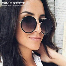 SIMPRECT Vintage Round Sunglasses Women 2019 Retro