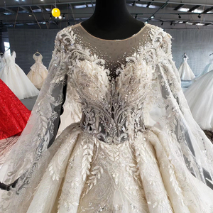 Image 5 - HTL1004 vintage wedding dress with cape illusion o neck sleeve shawl lace up back beads bride wedding gowns luxury robe mariee