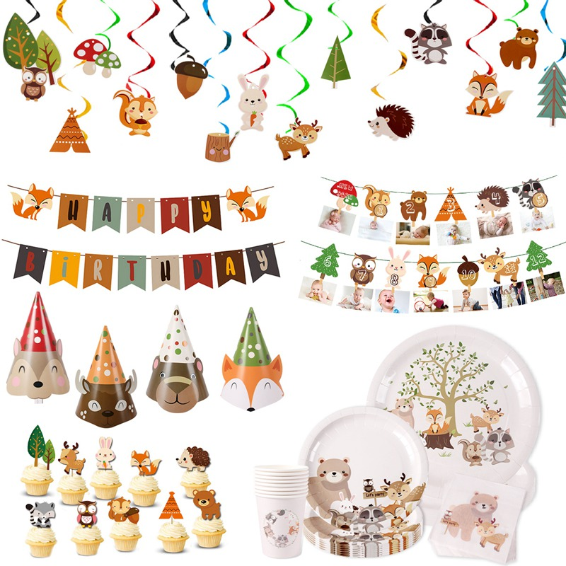 PATIMATE Woodland Tableware Jungle Safari Party Decoration Jungle Animals Happy 1st Birthday Party Decor Kids Woodland Animal