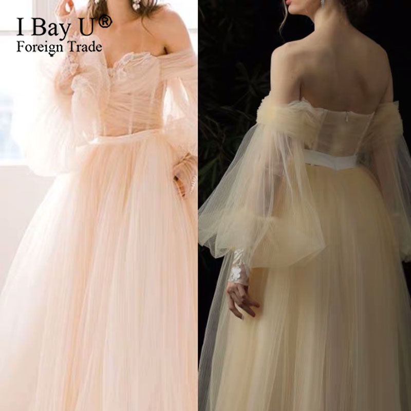 Beige Boho Wedding Dress Puffy Sleeves 2020 Sexy Off Shoulder A Line Bride Dresses vestido de casamento Tulle Wedding Gowns