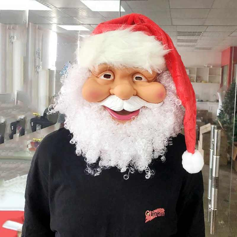 Merry Christmas Santa Claus Mask Full Face Covered White Beard Funny Party Mask Christmas Costume Accessories New Year Gift