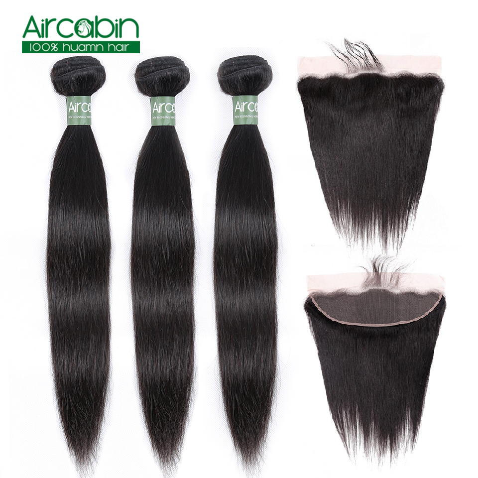 Peruvian Straight Hair Bundles With Frontal Human Hair 3 Bundles With Ear To Ear Lace Frontal Closure AirCabin Remy Extensions