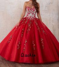 Vestido de baile vermelho inchado plissado quinceanera vestidos sem alças rendas até apliques debutante 15 anos festa