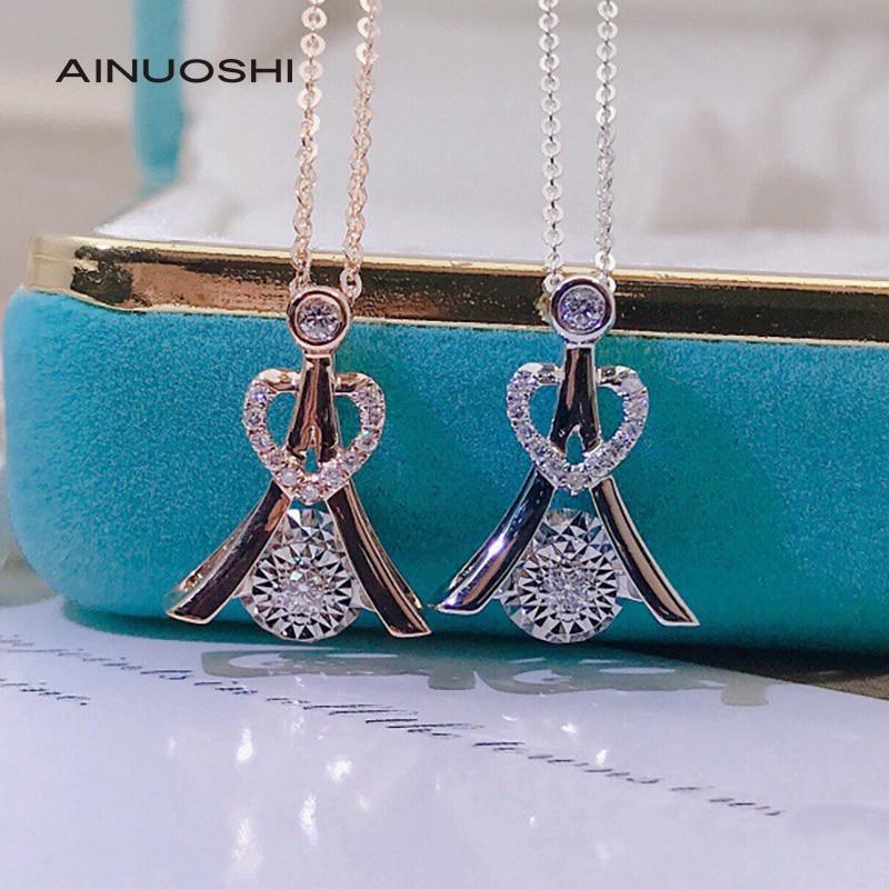 AINUOSHI 18K Rose Gold Round Cut 0.085ct Natuarl Diamond Heart Shape Dancing...