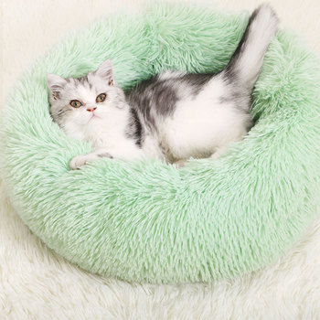 Super Soft Dog Bed Round Washable Long Plush Cat Bed Sofa For Dog Chihuahua Dog Basket Pet Bed image