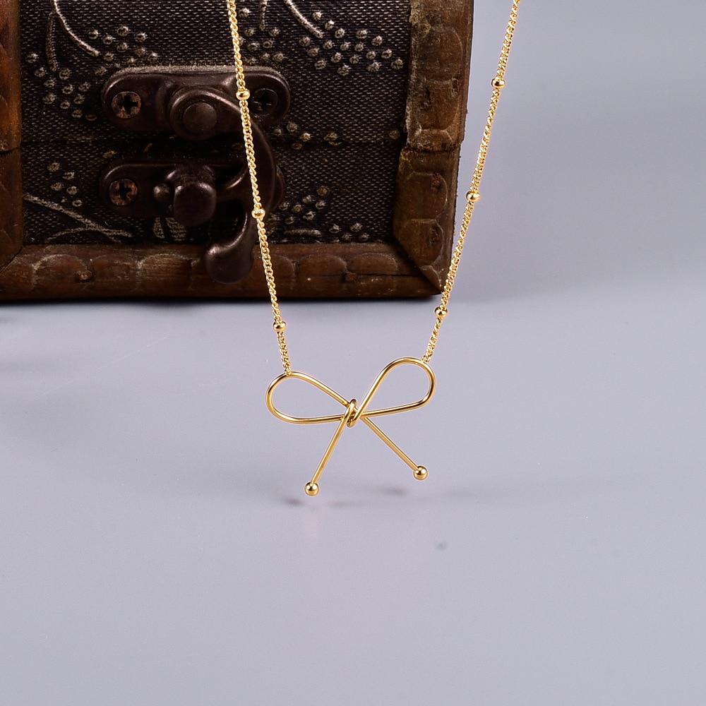 Hongcheng Jewellery Titanium Steel Beautiful Choker Bow Knot Round Bead Necklace Gold Female Summer Pendant Necklaces HC62