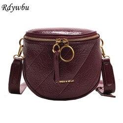 Rdywbu moda costura letras crossbody bolsa feminina couro do plutônio bolsa de ombro meninas anel de metal cintura saco pequeno peito b188