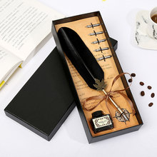 Retro Vintage Calligraphy Feather Pen Office Writing Shearing Leaf Rod Teacher Stationery Set High Quality Tip Standard