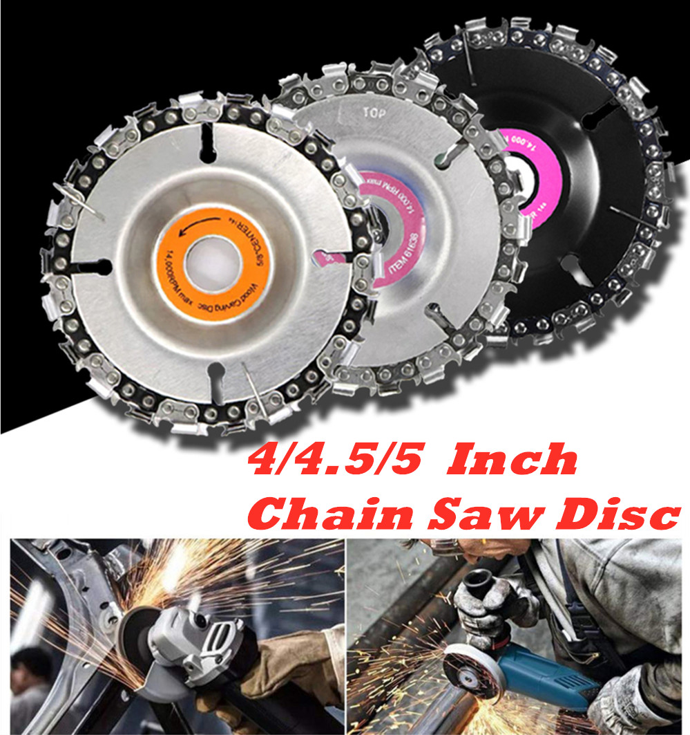 4/4.5/5 Inch Grinder Chain Disc 22 Tooth Wood Carving Disc For 100/115 Angle Grinder