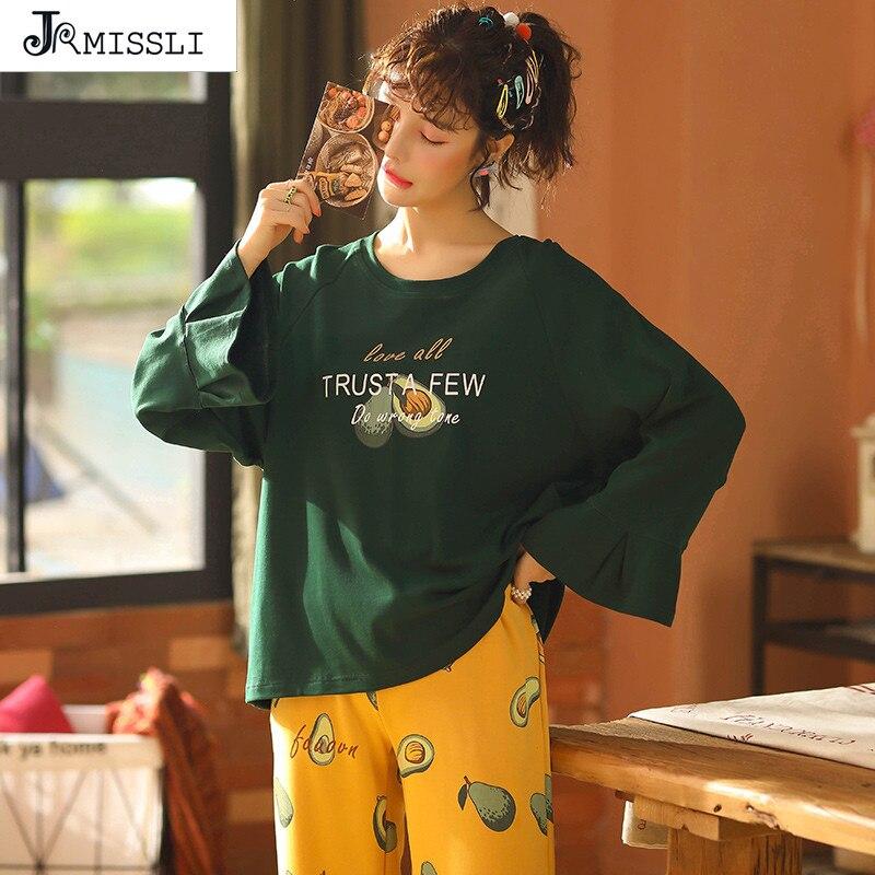 JRMISSLI Spring Autumn Winter Womens   Pajama     Sets   O-Neck Long Sleeve Women Sleepwear   Pajamas   Girls Woman Pyjama Femme Plus Size