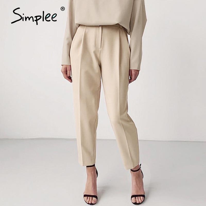 Simplee Elastic High Waist Blazer Pants Women Fashion Pants Spring Female Long Pants Office Lady Work Wear Bottom Trousers