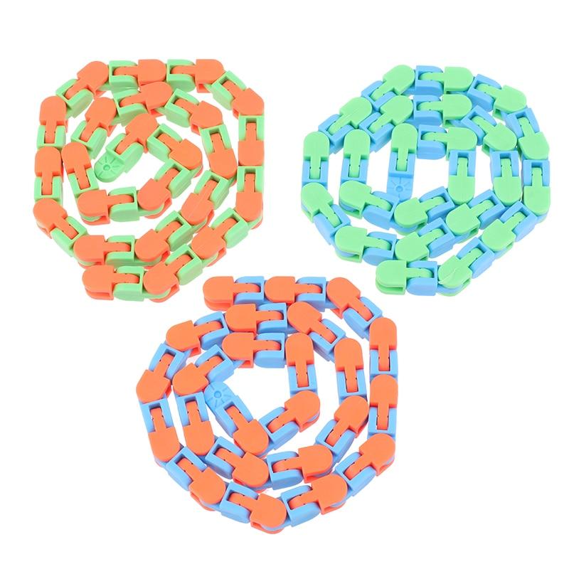 Sensory Toy Fidget-Toys Autism Wacky Tracks Snap Multicolor Kids Classic 1pc Click Snake img2