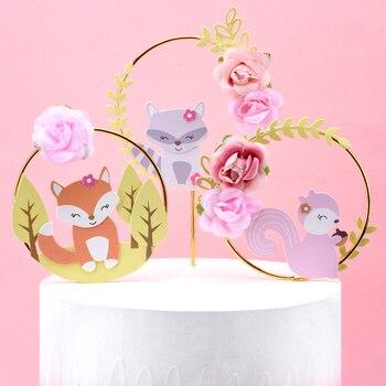 Cakelove 1 piezas hermoso bosque Animal tema pastel decoración zorro ardilla flor guirnalda torta adorno infantil fiesta de cumpleaños