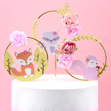 Cakelove 1Pcs Beautiful Forest Animal Theme Cake Decoration Fox Squirrel Flower Wreath Garland Topper Child Birthday Party