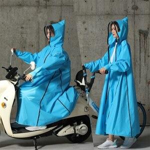 Image 3 - Gorąca sprzedaż EVA płaszcz przeciwdeszczowy kobiety/mężczyźni zamek z kapturem Poncho motocykl odzież przeciwdeszczowa długi styl piesze wycieczki Poncho środowiska kurtka przeciwdeszczowa