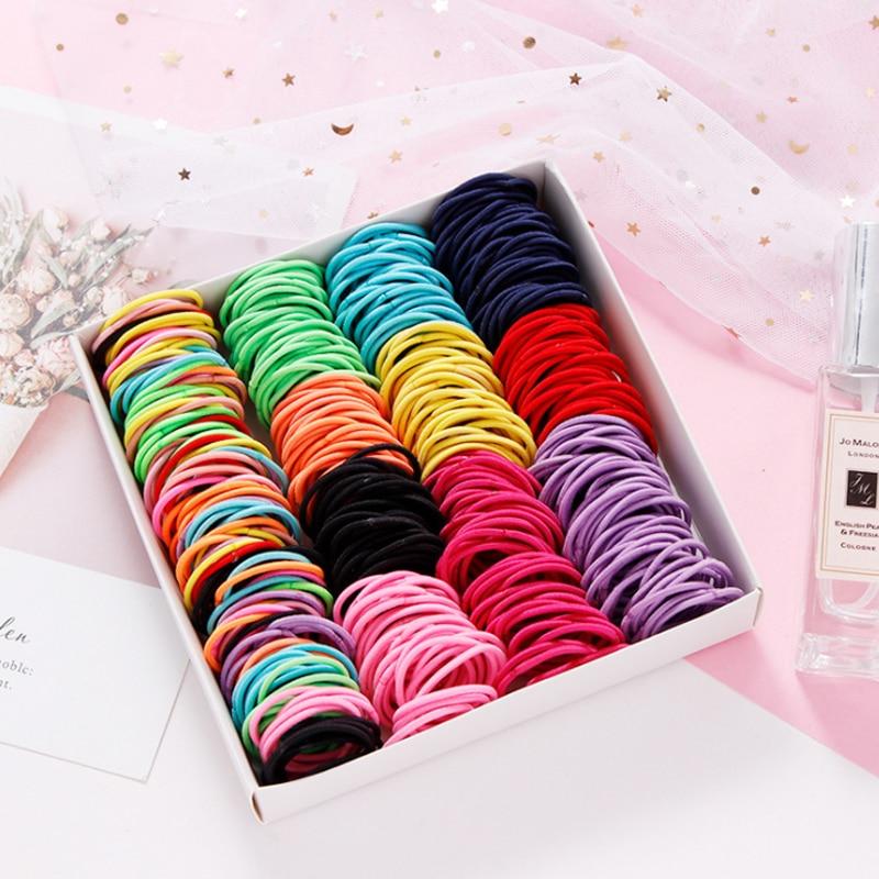 100/Lot  Girls Candy Colors Nylon Elastic Rubber Bands  Scrunchy Children Ties Gum Girls Hair Accessories Headband