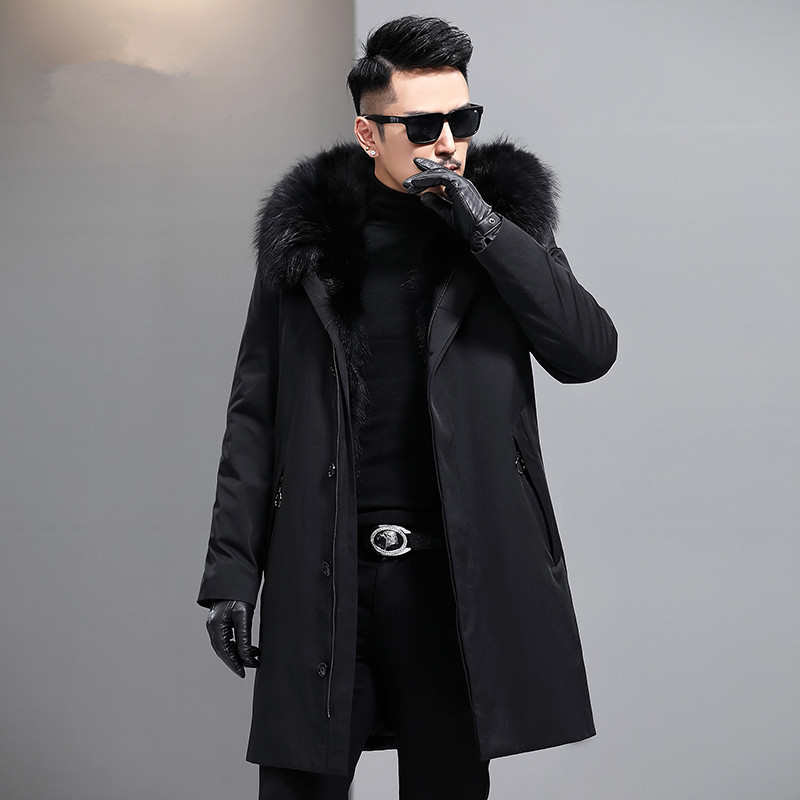 Mens Natural Fur Coat Winter Jacket Men Real Raccoon Fur Liner Parka Men Raccoon Fur Collar Coats Warm Overcoat MY767