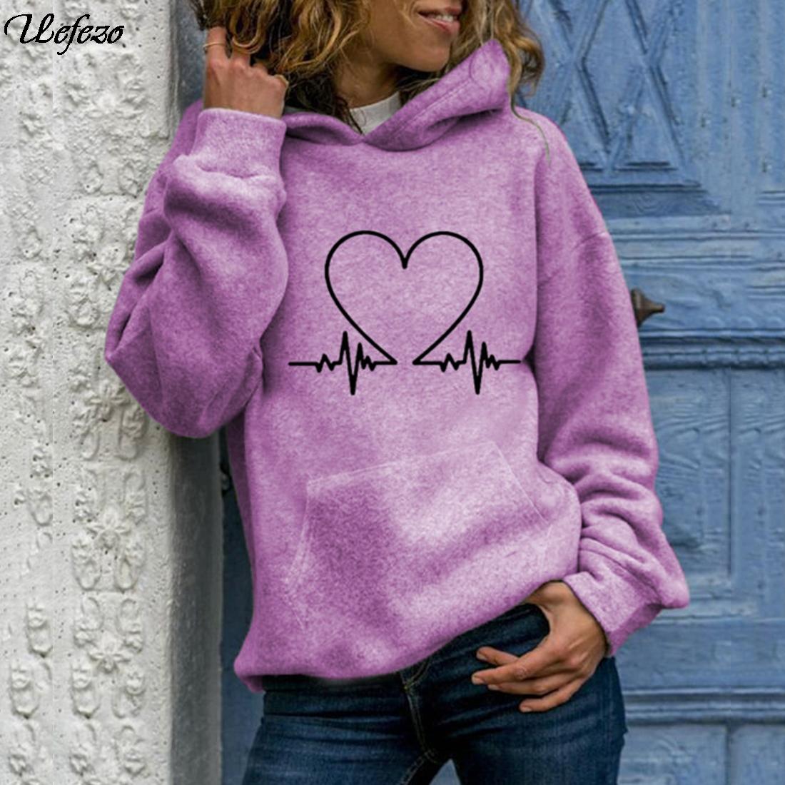 Uefezo Female Hoodies Women Oversized Sweatshirts Women's Gown with Long Sleeve Tops Casual Hooded Women Pocket Pullovers