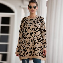 Pull Long Femme Sweater Women Leopard Print Sleeve Crew Neck Knitted Oversized Pullover Winter Sweaters women Plus size