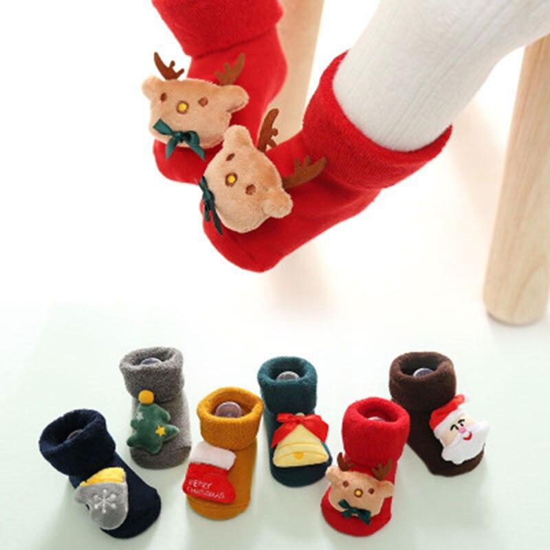 Christmas Gift Socks Themed Children Newborn Cotton Cartoon Socks Winter Kids Baby Infant Anti-slip Children Unisex Socks