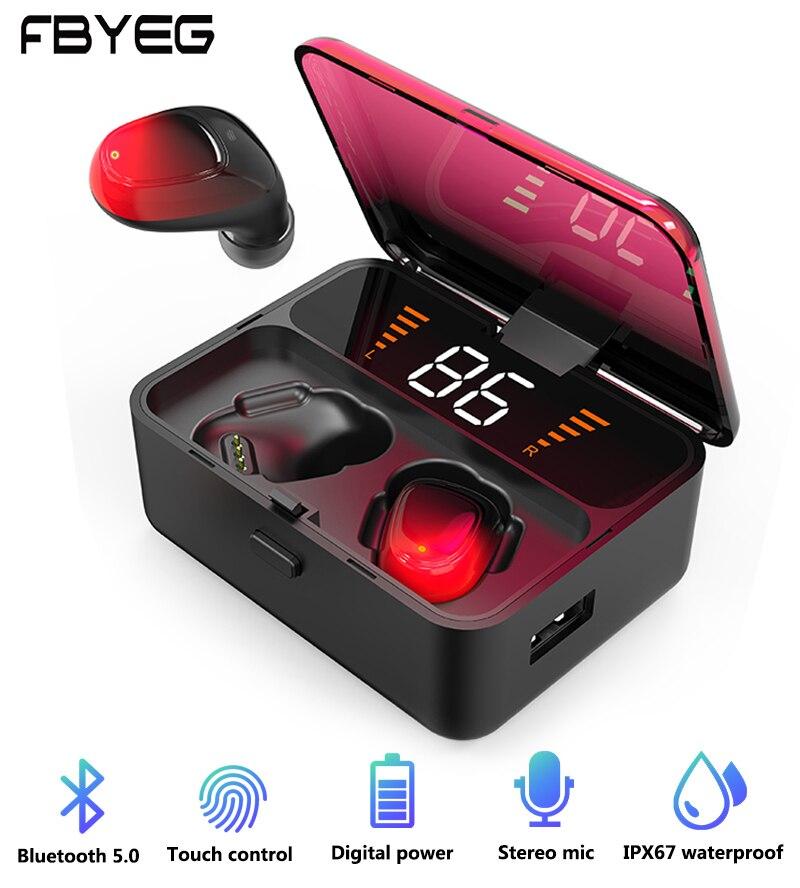 TWS Bluetooth Earphone ES01 5.0 Touch Wireless Headphones 9D Stereo Sport Waterproof Mini Headset Handsfree LED Power Display