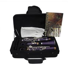 17-Key Clarinet Bb Flat Soprano Binocular Clarinet Cork Grease Cleaning Cloth Gloves 10 Reeds Screwdriver yibuy black nickel plated 17 key bb clarinet with cleaning cloth gloves case