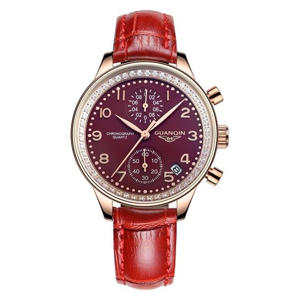 GUANQIN GQ15008 lady Chronograph series quartz watch women fashion luxury watch female Austria Diamond red Leather strap
