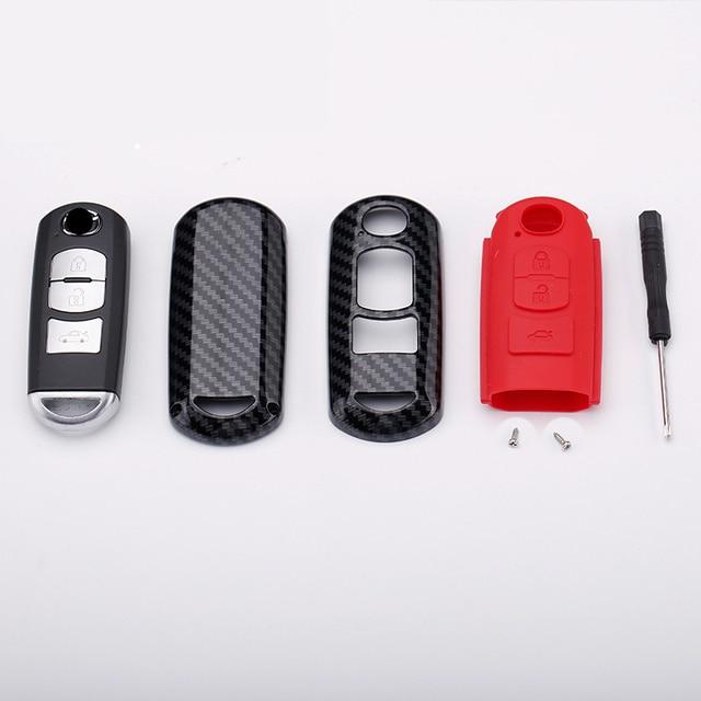 High Quality Mature Carbon Fiber Matte Car Key Case For Mazda 2 3 6 Axela Atenza CX-5 CX5 CX-7 CX-9 2014~17 interior accessories