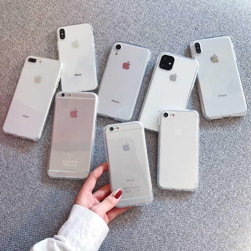 360 フルカバレッジ強化版 2 電話ケース iphone 11 プロ XS × XR XS 最大 8 プラス 7 6 6S アクリルソフトシリコーン TPU カバー