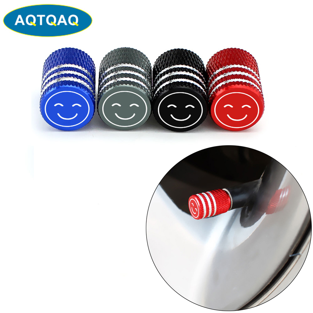 4Pcs/Set Universal Smiling Alu-alloy Tire Valve Caps For Car Truck Motorcycle Bicycle Valve Stem Cover Tire Accessories